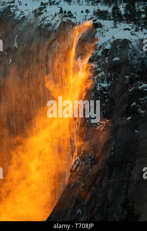 The magical natural phenomena known as Fire Fall. - Stock Image