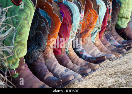 Usa, Wyoming, Shell, The Hideout Ranch, Five Pairs of Cowboy Boots (PR) - Stock Image