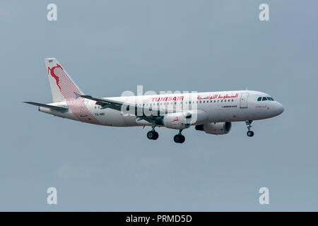 Tunisair Airbus A320 (TS-IMR) at Milan - Malpensa (MXP / LIMC) Italy - Stock Image