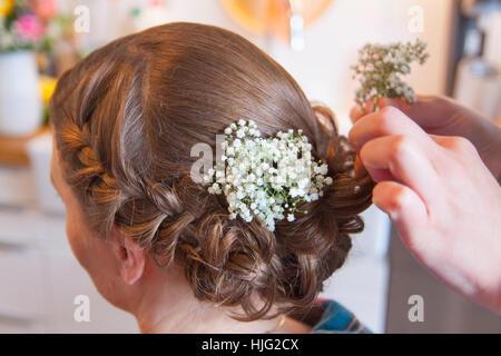 Bride,hair,hairstyle,bridesmaid,braided,braid,hairpin,hairdresser,hands,head,brown,veil,Day,best,in,life,marriage,wedding,weddin - Stock Image