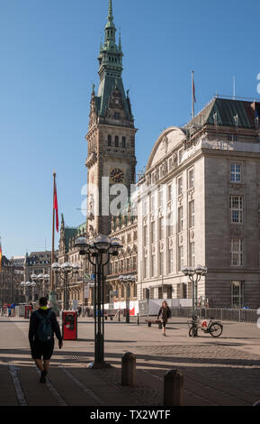 View of Hamburg City Hall (Rathaus), a neo-renaissance style building, and city landmark in Altstadt district, Hamburg, Germany - Stock Image