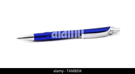 Blue ballpoint pen with a button isolated on white - Stock Image