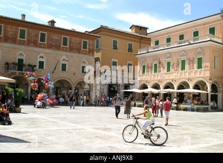 Sunday morning at The famous,beautiful and  historic Meletti Caffe in Ascoli Piceno, Le Marche ,Italy - Stock Image