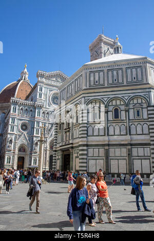 Basilica of Saint John at Florence Cathedral in historic centre of Florence,Tuscany,Italy - Stock Image