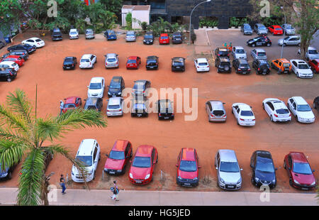 aerial view car parking Brasilia Brazil - Stock Image