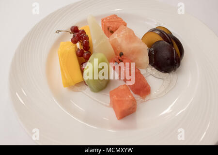 Santa Cruz de Tenerife; a fruit salad served at a local patisserie. - Stock Image