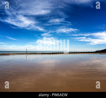 Sandy beaches along the shore at Cromer in north Norfolk, East Anglia, England, UK - Stock Image