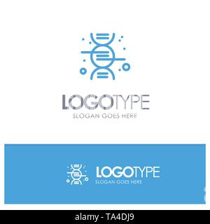 Dna, Research, Science Blue outLine Logo with place for tagline - Stock Image