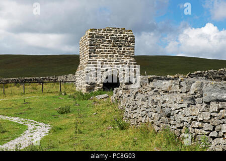 Flue stack at the Toft Gate Lime Kiln, Greenhow Hill, North Yorkshire, England UK - Stock Image