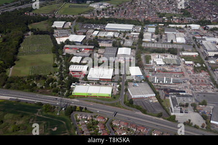aerial view of Wardley Industrial Estate, Worsley, Manchester M28 - Stock Image