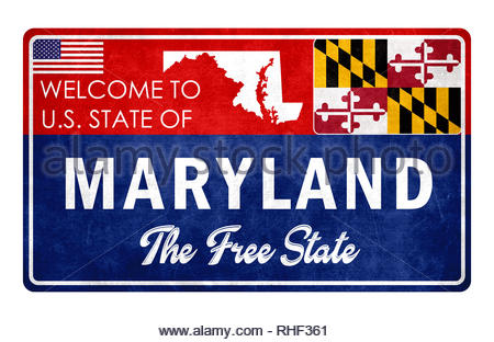Welcome to Maryland - grunge sign - Stock Image