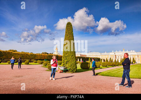 18 September 2018: St Petersburg, Russia - Tourists admire the topiary in Peterhof Palace Gardens on a bright autumn day. - Stock Image