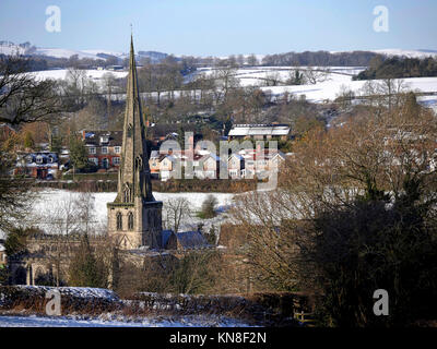 Ashbourne, Derbyshire, UK. 11th December, 2017. UK Weather: snow scenes on a cold bright day around the market town - Stock Image