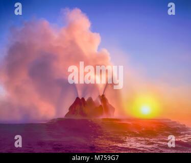Fly Geyser at sunrise, Black Rock Desert, Nevada, Hot spring geyser on playa rim, colors from algae in hot spring - Stock Image