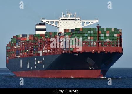 UASCs A19-class Tihama heading for Hamburg - Stock Image