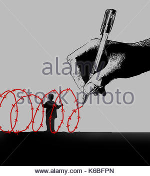 Hand drawing red barbed wire around small boy - Stock Image
