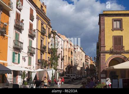 a street in the centre of Bosa, Sardinia, Italy - Stock Image