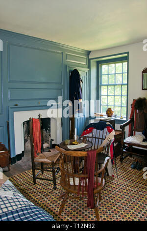 Aides-de-Camp bedroom at Washington's Headquarters, where officers such as Alexander Hamilton slept, at Valley Forge Nat. Park, Pennsylvania. - Stock Image