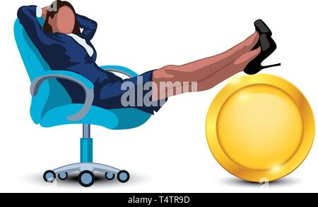 relaxing businesswoman in chair - Stock Image