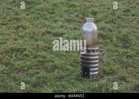 Aluminium emergency kettle (base and kettle unit) for boiling water - for survival or backpacking. - Stock Image