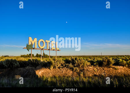 Vintage roadside highway Motel advertising sign in the American Desert - Stock Image