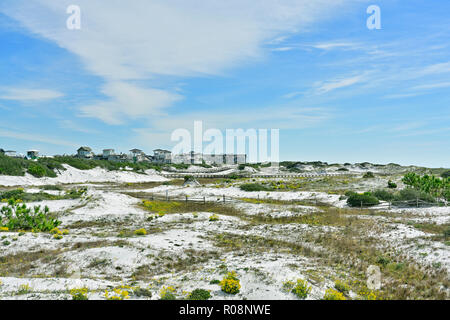 Florida coastal sand dunes landscape looking toward Watersound a coastal living community in the panhandle or Gulf coast of Florida, USA. - Stock Image