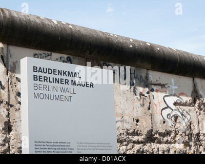 The Berlin Wall Monument in Berlin Germany - Stock Image