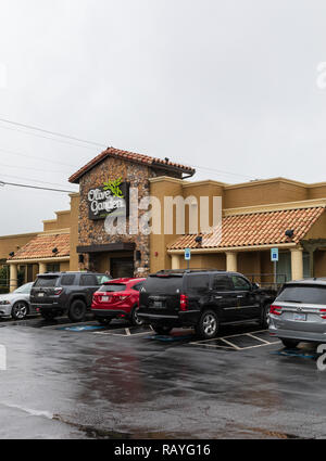 HICKORY, NC, USA-1/3/19:  Olive Garden is an Amerian restaurant chain specializing in Italian-American cuisine.  It was founded in 1982. - Stock Image