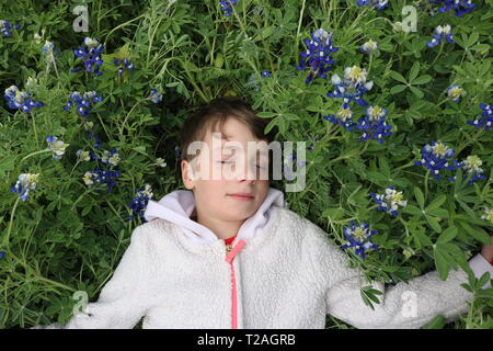 Young girl with short brown hair sleeping in a field of bluebonnets - Stock Image