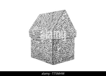 House made from a newspaper isolated on white background - Stock Image