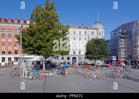 Young bicycle mechanics assembling and selling bicycles at a Saturday flea market in Israels Plads, Israels Square, in sunny autumnal Copenhagen. - Stock Image
