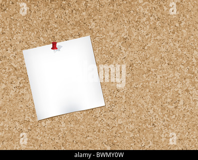 Note pad pinned to a cork bulletin board illustration. - Stock Image