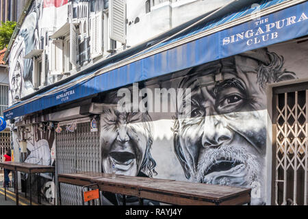 Singapore - 22nd December 2018: Haji lane wall murals on the walls of the Singapura club. This is in the Kampong Glam area - Stock Image