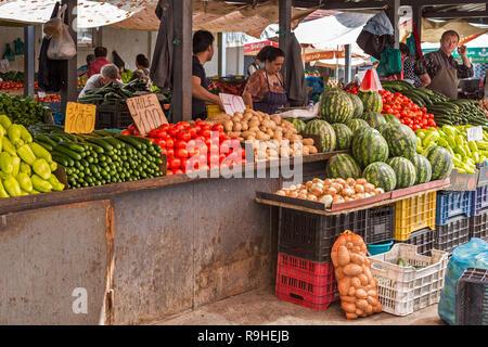 Fruit &  salad stalls Food market Korca Albania - Stock Image