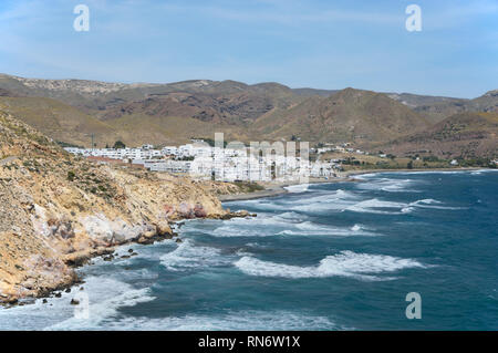 Las Negras is a small fishing village in the Spanish Natural Park of Cabo de Gata and has now become a major tourist destination. - Stock Image