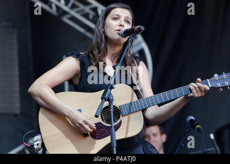 Montreal, Canada. Sara Dufour performs on stage at the Francofolie French music festival in downtown Montreal - Stock Image