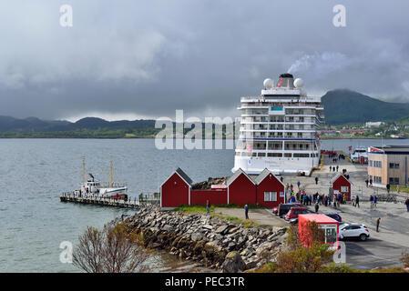 Cruise ship Viking Sea docked at Leknes,  Lofoten Archipelago, Norway 180703_68739 - Stock Image