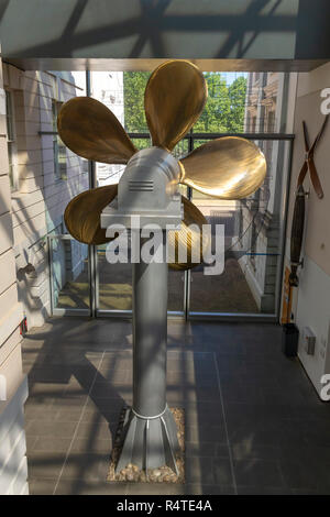 Screw Propellor from Type-23 Frigate, Neptune Court, National Maritime Museum, Greenwich, London, England, UK, - Stock Image