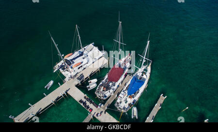 Aerial of sailboats at a dock, Exuma Cays, Bahamas Islands - Stock Image