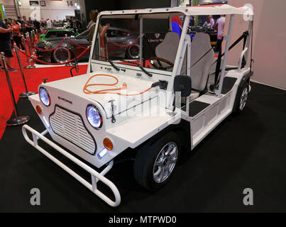 Three-quarter front view of an E-Moke, on display at the 2018 London Motor Show - Stock Image