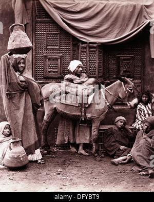 Egyptian Family with Donkey, ca 1880 - Stock Image