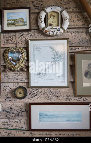 New Zealand, South Island, Otago, Moeraki, Fleur's Place, one of the most honored restaurants in New Zealand, dining room detail - Stock Image