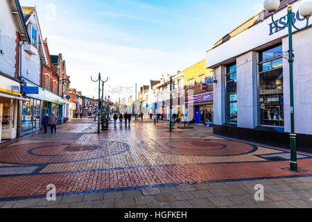 Scunthorpe Town centre, Lincolnshire UK England shops stores shoppers shopping centre center pedestrianised area - Stock Image