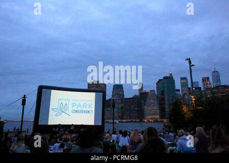 Movies With a View screening gives unmatched backdrop of Manhattan's Financial District, Brooklyn on JULY 6th, 2017 in New York, USA. (Photo by Wojcie - Stock Image
