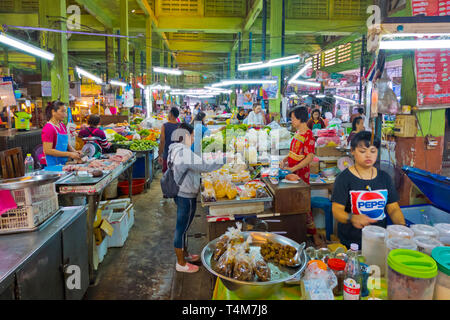 Wet and Dry market, market hall, Trang, Thailand - Stock Image