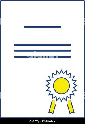 Icon of Diploma. Thin line design. Vector illustration. - Stock Image