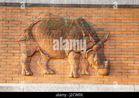 Germany, Berlin. Rhinoceros figure on Berlin Zoological Garden wall. Credit as: Wendy Kaveney / Jaynes Gallery / - Stock Image