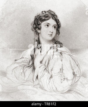 Desdemona. Principal female character from Shakespeare's play Othello.  From Shakespeare Gallery, published c.1840. - Stock Image