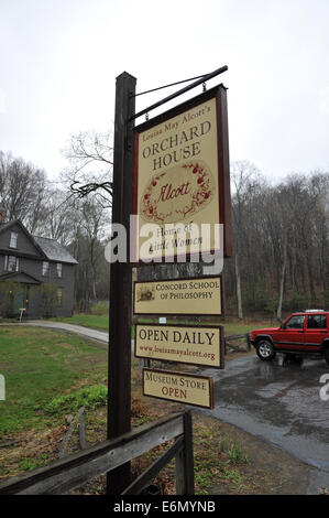 Sign outside Orchard House of Louisa May Alcott (1832–1888), author of Little Women. Concord, Massachusetts, USA - Stock Image