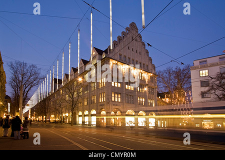 Bahnhofstrasse at  twilight with Chistmas illumination, tram - Stock Image
